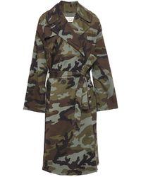 Nili Lotan Printed Stretch-cotton Trench Coat Army Green