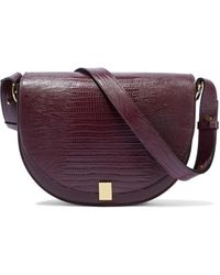 Victoria Beckham Half Moon Lizard-effect Leather Shoulder Bag - Purple