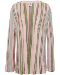 M Missoni Metallic Striped Crochet-knit Cardigan Baby Pink