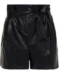 Ba&sh Pleated Faux Leather Shorts - Black