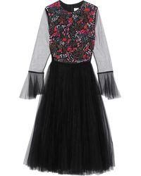 Carolina Herrera Embellished Tulle Midi Dress Black