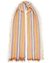Chan Luu Gestreifter Schal Aus Einer Kaschmir-seidenmischung - Weiß