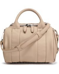 Alexander Wang - Rockie Studded Textured-leather Tote Beige - Lyst