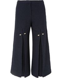 Mother Of Pearl - Woman Bennie Faux Pearl-embellished Pleated Cotton-tweed Wide-leg Trousers Navy - Lyst