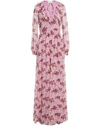 Giambattista Valli Lace And Ruffle-trimmed Gathered Floral-print Silk-georgette Gown - Pink