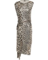 Paco Rabanne Ruched Metallic Leopard-print Chainmail Dress Animal Print - Multicolour