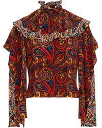 JW Anderson Ruffled Silk-chiffon Top Multicolor
