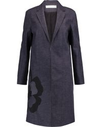 Victoria, Victoria Beckham - Appliquéd Textured-denim Coat - Lyst