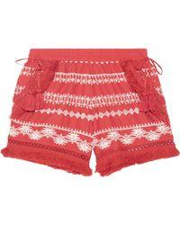 Rachel Zoe - Karlene Tasselled Embroidered Cotton-gauze Shorts - Lyst