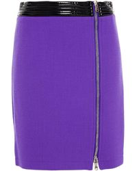 Moschino Zip-detailed Pvc-trimmed Wool-blend Crepe Mini Skirt Violet - Purple