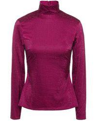 Solace London Aida Crystal-embellished Satin Turtleneck Top - Purple