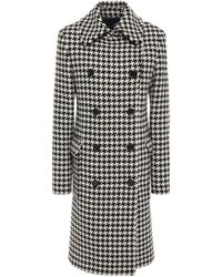 Love Moschino Double-breasted Houndstooth Wool-blend Coat - Black