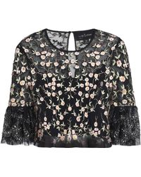 Needle & Thread - Cropped Embellished Embroidered Tulle Top - Lyst
