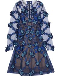 Marchesa notte - Floral-appliquéd Embroidered Tulle Mini Dress - Lyst