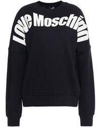 Love Moschino Printed French Cotton-terry Sweatshirt - Black