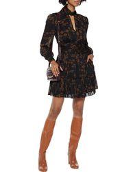 Nicholas Gemma Cutout Pleated Printed Chiffon Mini Dress - Black