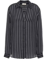 L'Agence Nina Striped Silk-crepe Shirt Black