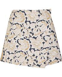 SUNO - Embroidered Cotton-canvas Mini Skirt - Lyst
