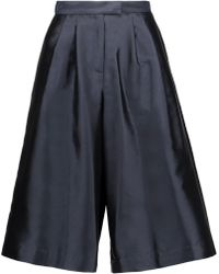 SUNO - Pleated Silk And Cotton-blend Faille Culottes Midnight Blue - Lyst