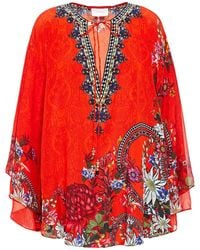 Camilla Crystal-embellished Printed Silk Crepe De Chine Blouse Tomato Red