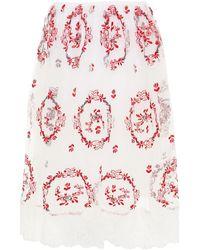 Simone Rocha Embroidered Gathered Tulle Skirt - White