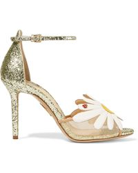 Charlotte Olympia - Margherite Appliquéd Mesh And Glittered Leather Sandals - Lyst