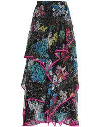 Peter Pilotto - Ruffled Printed Silk-georgette Maxi Skirt - Lyst