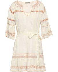 Love Sam Belted Embroidered Cotton-gauze Mini Dress White