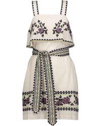 SUNO - Layered Embroidered Cotton-poplin Mini Dress - Lyst