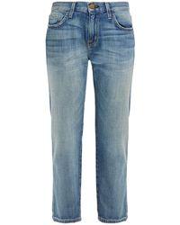 Current/Elliott Cropped Distressed Boyfriend Jeans Light Denim - Blue