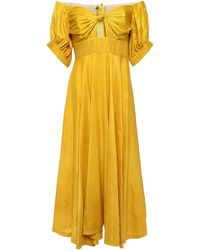 Kitx Unearthed Off-the-shoulder Knotted Crinkled Silk-crepe Midi Dress - Yellow