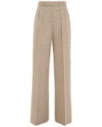 Rebecca Vallance Cocoa Checked Jacquard Wide-leg Pants - Brown
