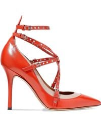 Valentino - Love Latch Eyelet-embellished Two-tone Leather Pumps Tomato Red - Lyst