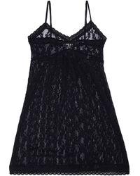 Eberjey Amaya Gathered Stretch-leavers Lace Chemise - Black