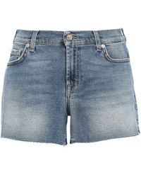 7 For All Mankind 7 For All Kind Frayed Faded Denim Shorts Mid Denim - Blue