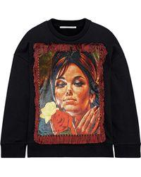 Stella McCartney Fringed Printed Velvet-paneled French Cotton-terry Sweatshirt - Black