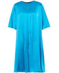 ROKSANDA Pleated Two-tone Silk-satin And Twill Mini Dress Größe 8 - Blue