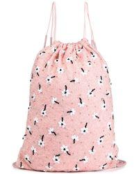 Ganni Bluse aus crêpe mit raffung und cut-outs - Pink