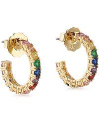 CZ by Kenneth Jay Lane - Woman 24-karat Gold-plated Swarovski Crystal Hoop Earrings Gold - Lyst