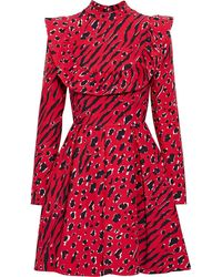 Valentino Ruffle-trimmed Printed Wool And Silk-blend Crepe Mini Dress - Red