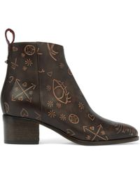 Valentino - Embossed Leather Ankle Boots Dark Brown - Lyst
