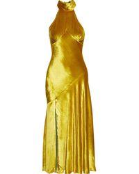 De La Vali Vivienne Halterneck Silk-satin Midi Dress - Yellow