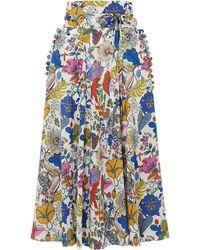 Horror Vacui James Scalloped Floral-print Cotton Midi Skirt - White