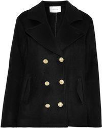 FRAME Double-breasted Wool-felt Coat Black