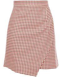 Paper London Ten Wrap-effect Houndstooth Cotton-jacquard Mini Skirt - Pink