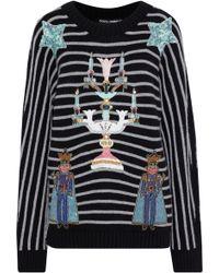c7ce724ee7ea Lyst - Dolce   Gabbana Appliquéd Polka-dot Silk Sweater in Black