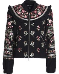Needle & Thread - Ruffle-trimmed Embroidered Cotton Bomber Jacket - Lyst