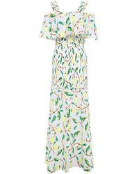 Isolda Cold-shoulder Printed Cotton-gauze Maxi Dress - Weiß