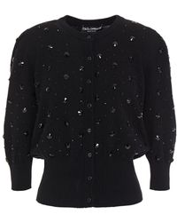 Dolce & Gabbana - Crystal-embellished Cashmere Cardigan Black - Lyst