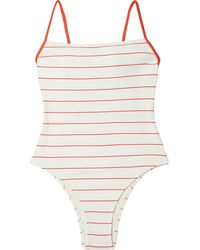 Solid & Striped The Chelsea Striped Ribbed Swimsuit Red